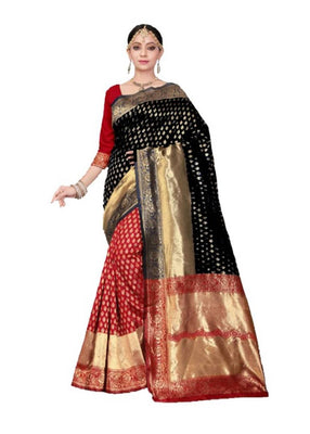 Latest Attractive Black Color Cotton Silk Saree with Blouse piece