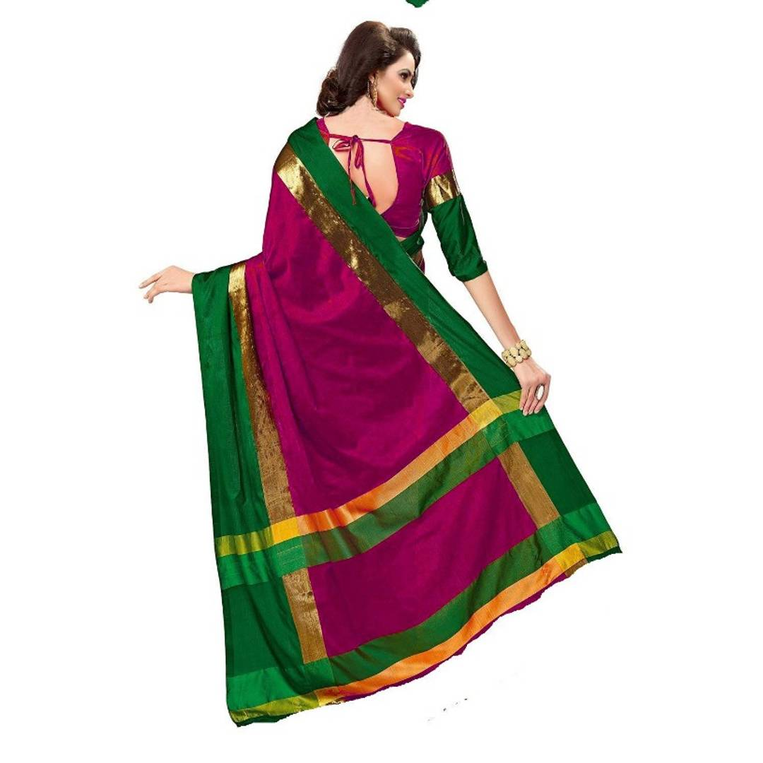 Stylish Multicoloured Cotton Silk Sarees with Blouse