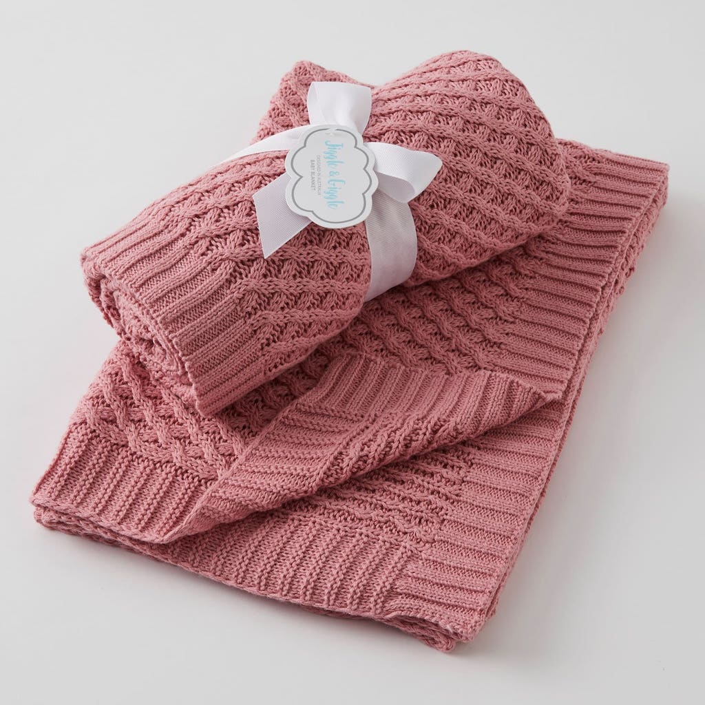 Basket Weave Knit Blanket - Blush