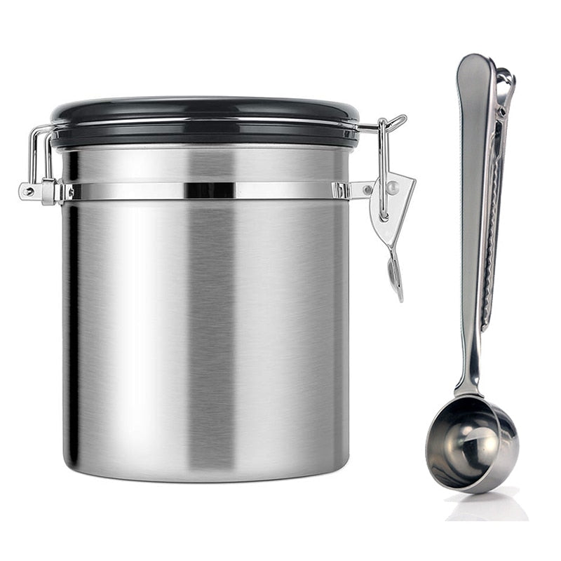 Leeseph Airtight Coffee Container - Stainless Steel CO2 Valve Storage Canister with Scoop - Keeps Your Coffee Fresh Flavorful
