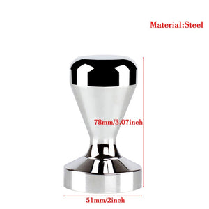 High Quality 51MM Steel Handle Coffee Tamper Bean Hammer Flat Espresso Press base Coffee Tamper