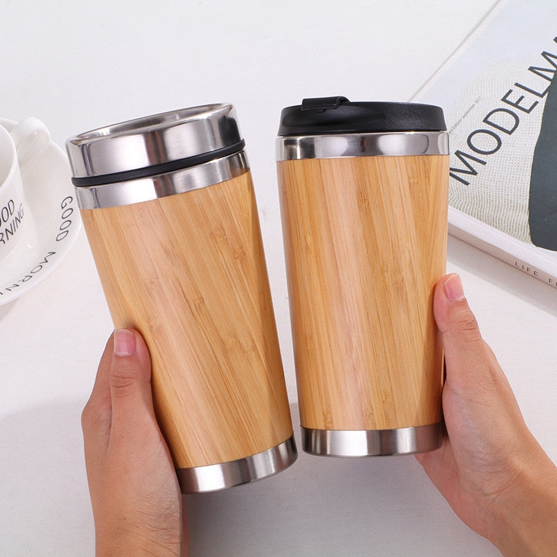 450ml Bamboo Travel Tumbler Stainless Steel Coffee Mug With Leak-Proof Cover Insulated Thermos Eco-Friendly Wood Dropshipping