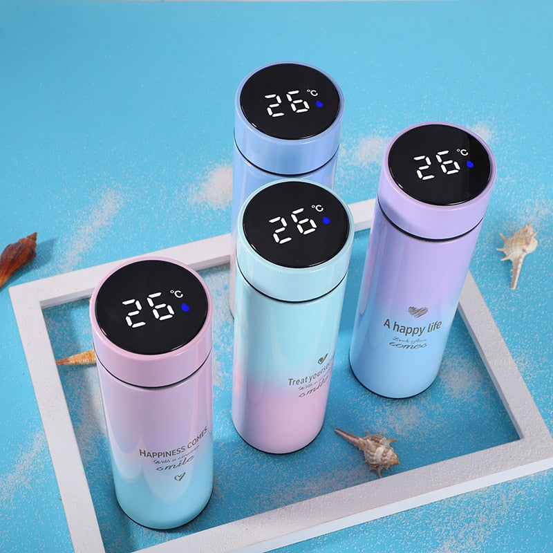 500ML Smart Thermos Water Bottle Led Digital Temperature Display Stainless Steel Coffee Thermal Mugs Intelligent Insulation Cups