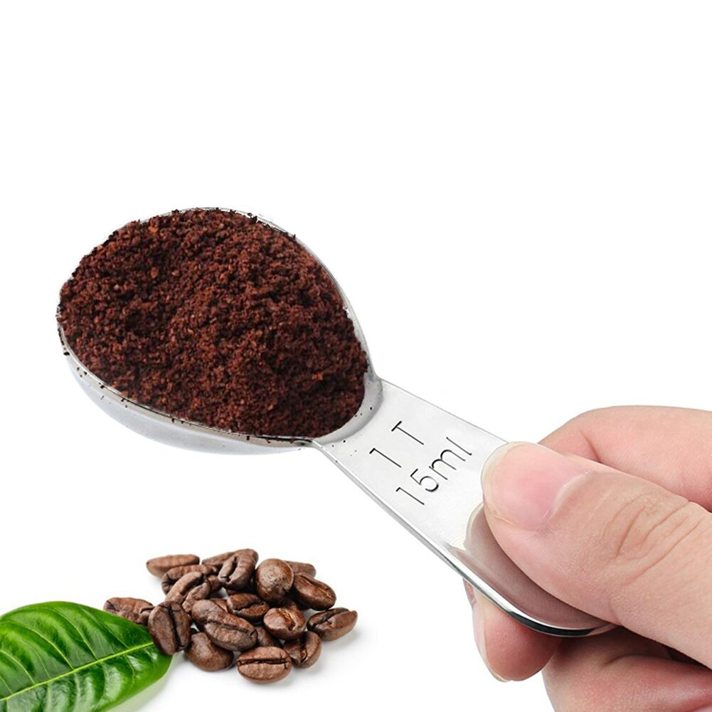 Measuring Spoons Coffee Scoop Short Handle 304 Stainless Steel Tablespoon 2pcs (15/30ml) for Baking or Coffee Measuring