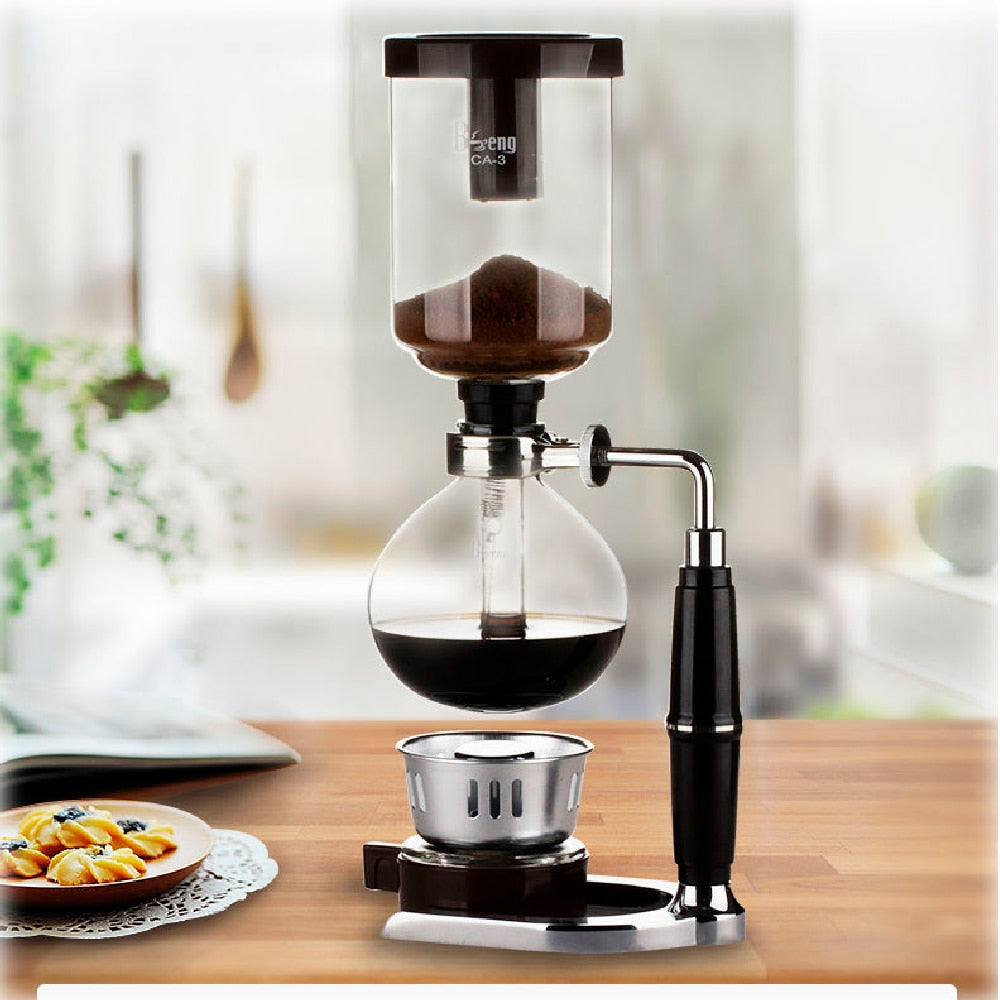 3 cups Coffee Siphon Coffee Tea Siphon Vacuum Pot Coffee Maker Heat-resistant Glass Type Siphon Coffee Filter machine