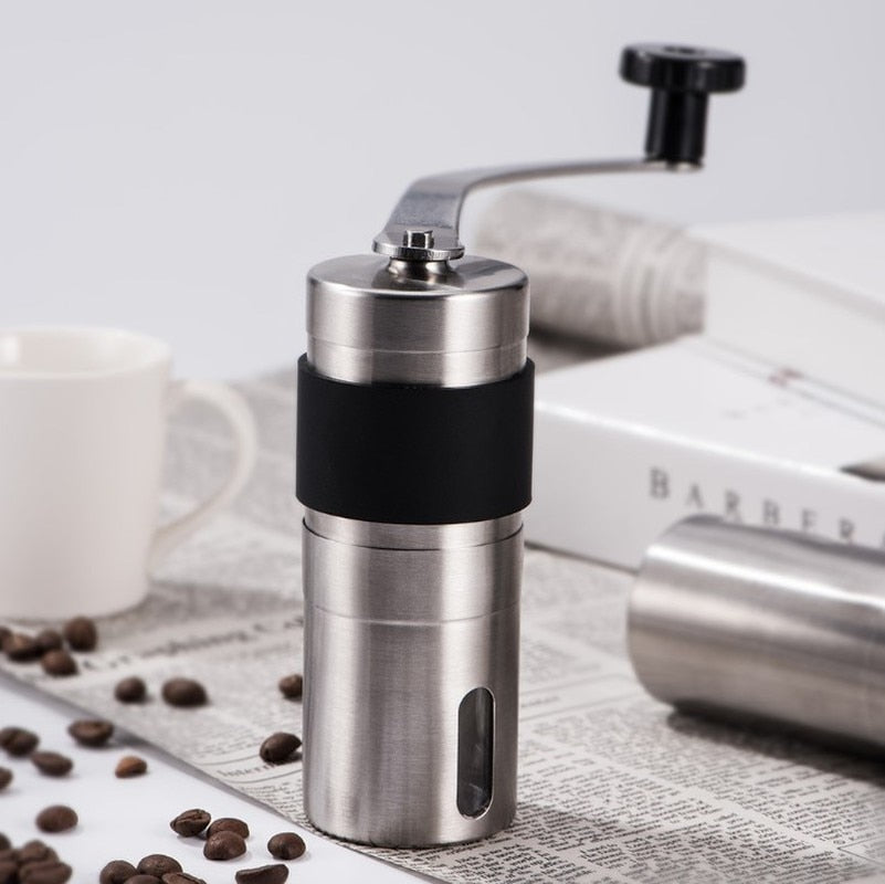 1PC Manual Ceramic Coffee Grinder Stainless Steel Adjustable Coffee Bean Mill With Rubber Loop Ring Easy Clean Kitchen Tools