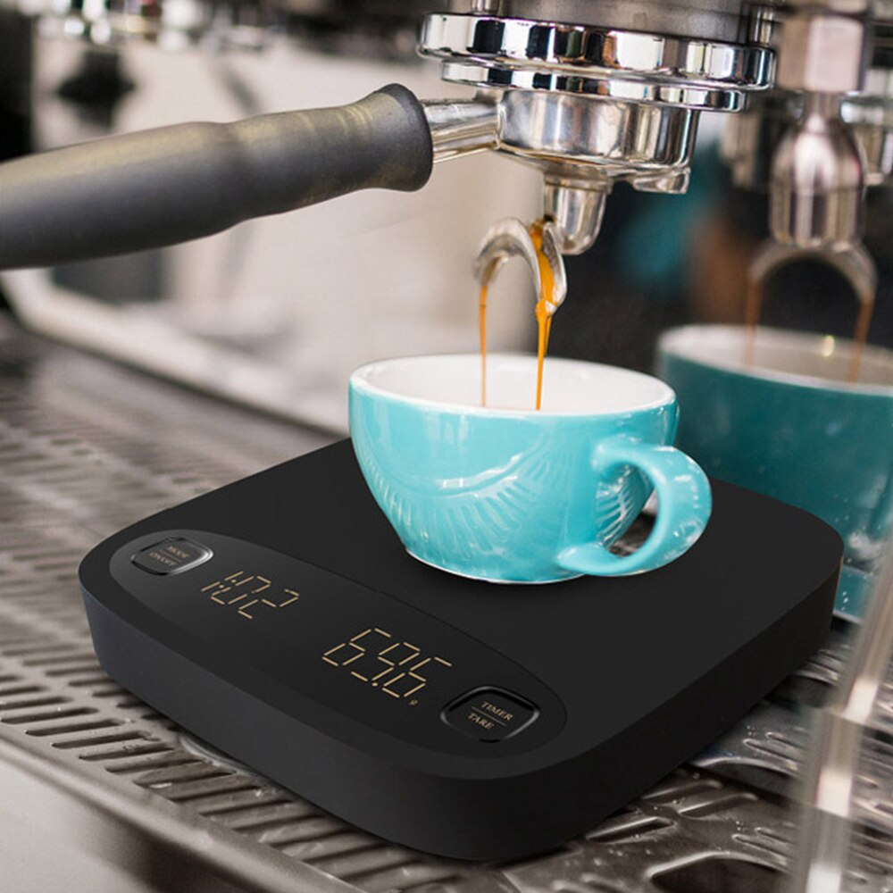 2kg/0.1g Electronic Coffee Scale with Timer Digital Kitchen Coffee Scales Weighing Balance Libra Jewelry Scale USB Charging