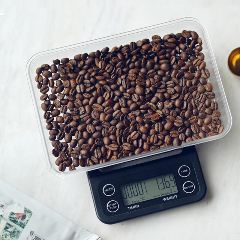 5kg/0.1g  0.5g Profession LCD household Display Digital Coffee Weighing Scale Home Kitchen Bar Timer food electronic scale