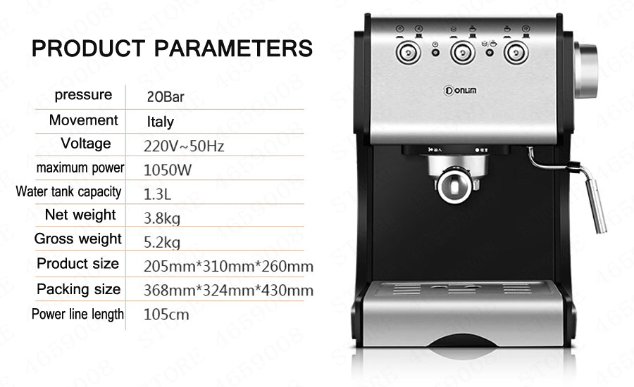 20BAR Coffee Machine Coffee Maker Espresso Cups Small Italian Household Semiautomatic Steam Type Milk Foamr