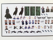 Load image into Gallery viewer, Keanu Reeves Inspired Nail Decals Water Slide Matrix John Wick
