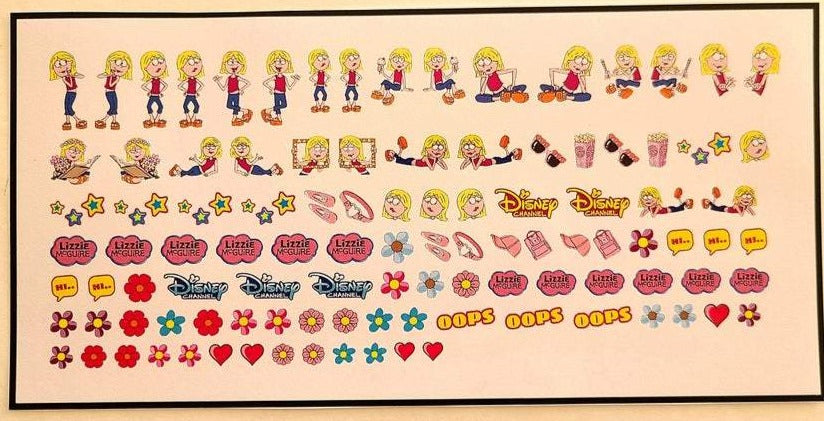Cartoon Lizzie McGuire Nail Decals Nail Art Water Slide Transfer