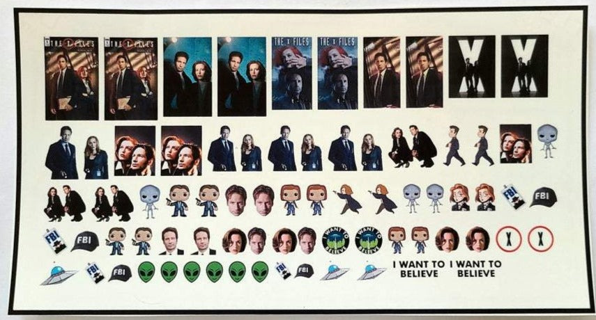 X-Files Nail Decals Water Slide Nail Wraps Fox Mulder Dana Scully Aliens UFO