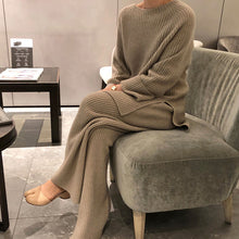 Load image into Gallery viewer, Women's Knitted Suits New Winter Fashionable Knitted Pants Set Loose Thick Sweaters Wide Leg Pants Trousers Two-piece Set