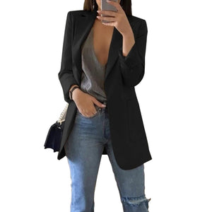 Slim Blazers Women  Suit Black with Pockets Business Notched Blazer Coat