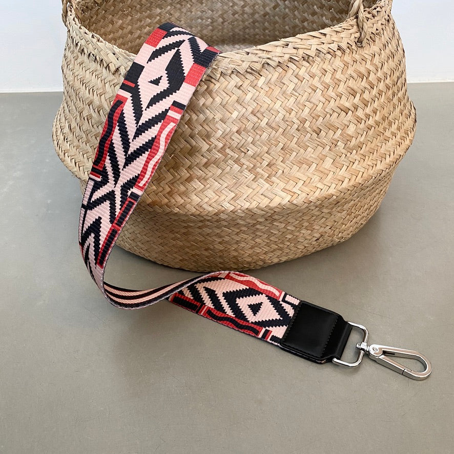 strap graphic boho rose/red