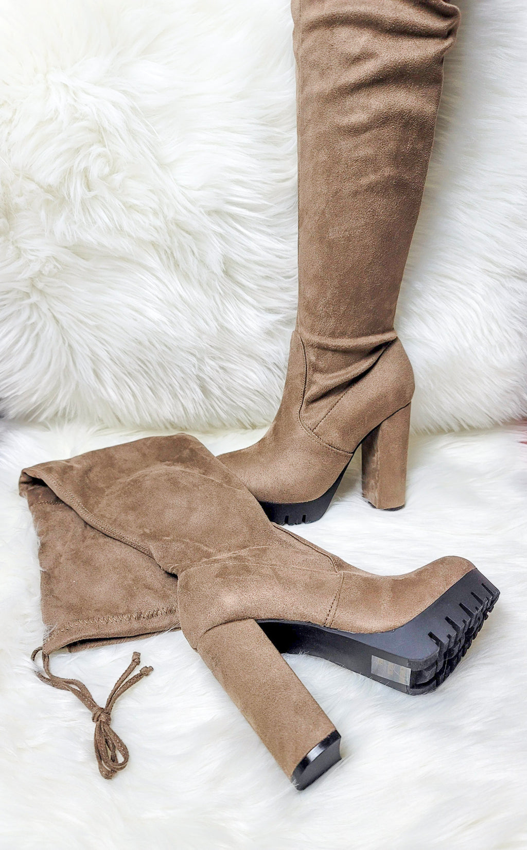 High Rize-Taupe Thigh High Boots