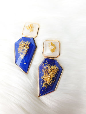 Golden Blue Drop Earrings