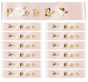 12 x Rose Gold 'Team bride' Sashes + 1 x 'Bride to Be' Sash