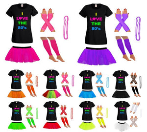 I Love 80s Neon Print T-shirt, Neon Tutu Skirt & Accessories