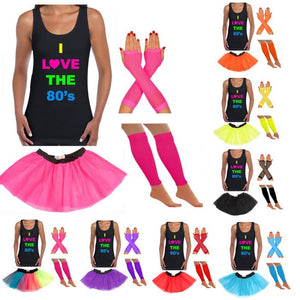 I Love The 80s Vest, Neon Tutu, Leg Warmers & Fishnet Gloves