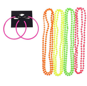 Pack of 4 Neon Necklace Beads and Neon Hoop Earrings