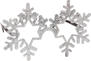 Silver Snowflake Novelty Christmas Glasses