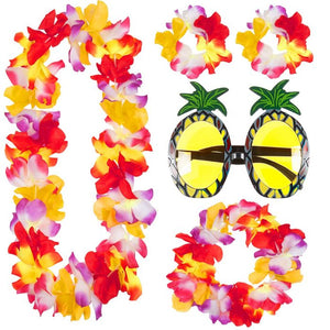 4pc Lei Garland Set & Pineapple Glasses Hawaiian Fancy Dress