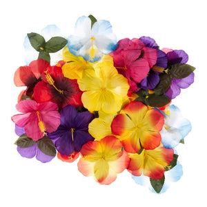30 Multi-coloured Tropical Artificial Flower Table Decorations