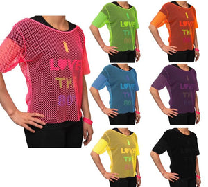 Ladies 80s Neon Mesh Top