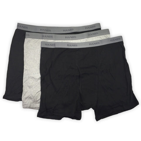 Hanes Classics - Men's Boxer Briefs - 3 Pack - Black/Grey