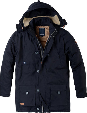 Men's Big Navy Blue Hooded Parka 53176-580
