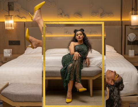 woman sitting on bed and wearing green dress and wearing Don't Call Me Princess' yellow mule 3 inches heels with golden chain and pointed toe