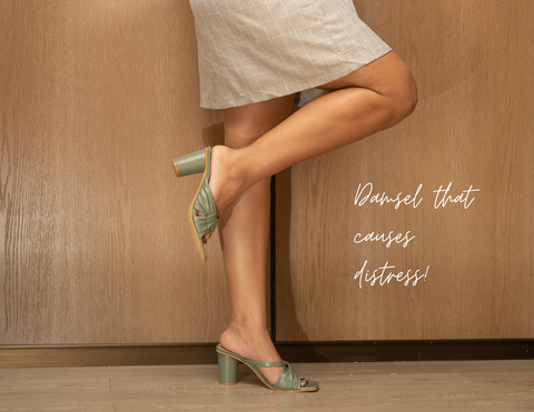 woman wearing Don't Call Me Princess' olive green round block heels