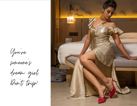 woman wearing golden dress and Don't Call Me Princess' hot pink satin 3 inches mule heels with golden chain