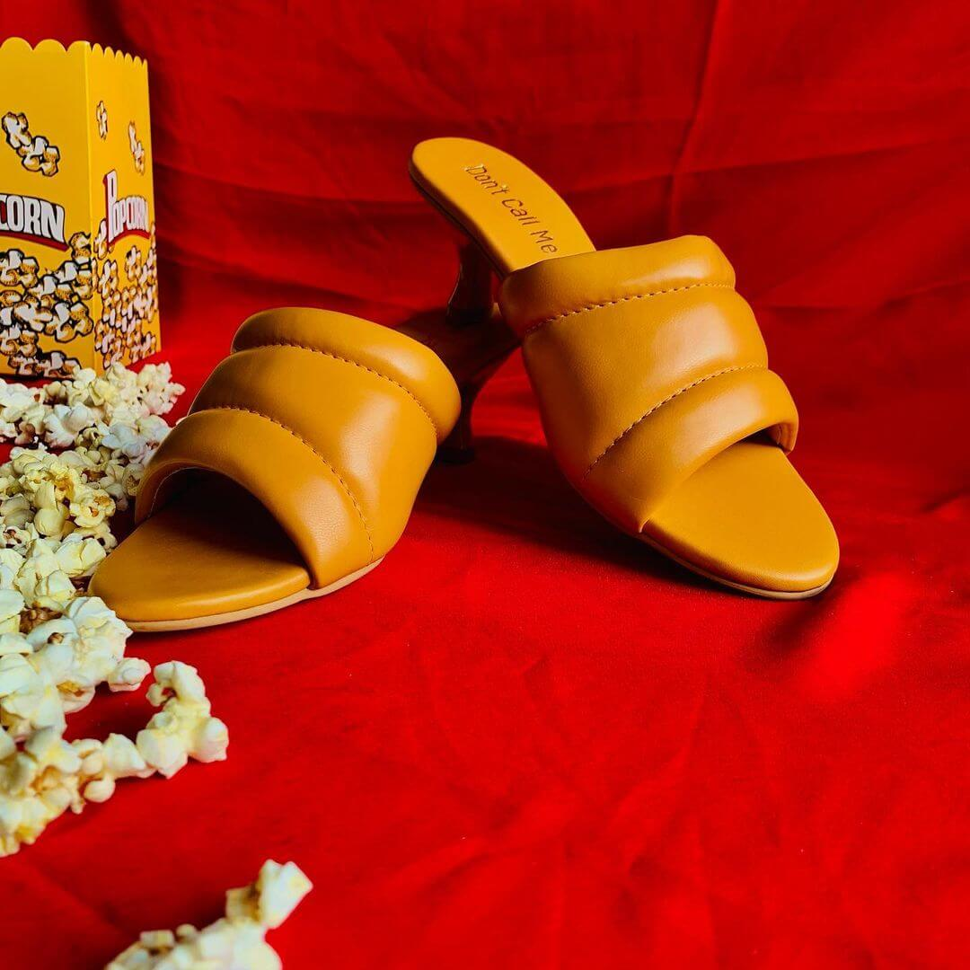 Mustard quilted flats