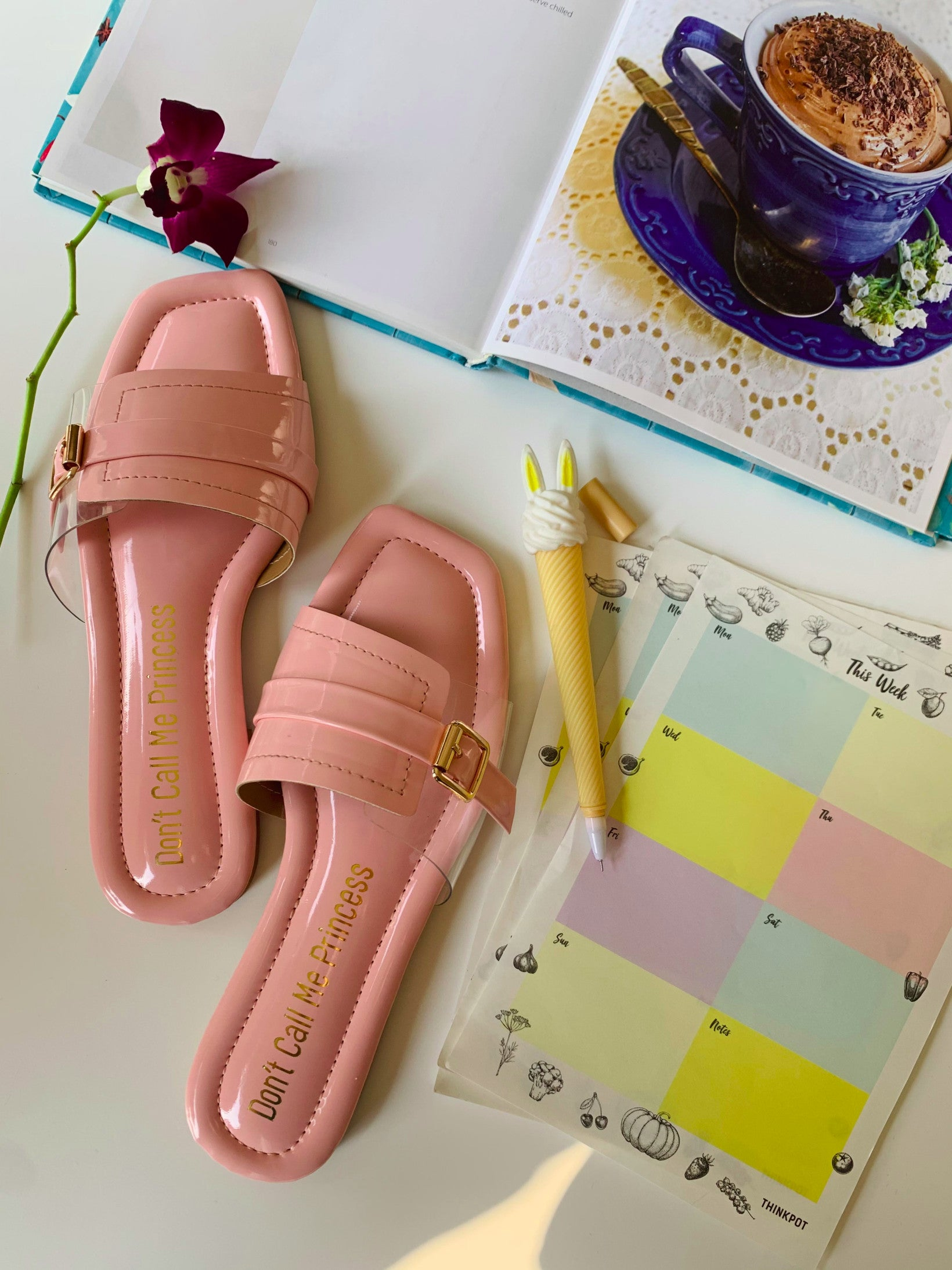 pink flats slide on with buckle pattern
