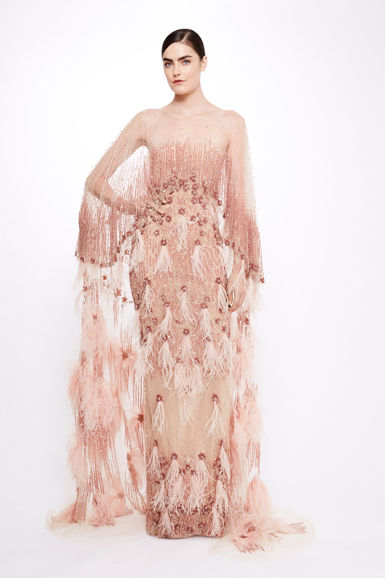 Sequin and Feather Gown