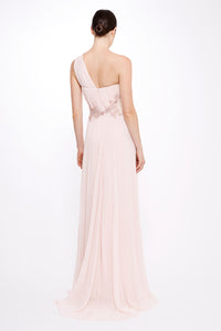 Silk Chiffon One Shoulder Gown
