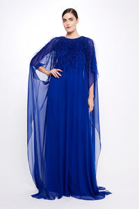 Silk Chiffon Caped Gown
