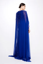 Load image into Gallery viewer, Silk Chiffon Caped Gown