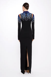 Stretch Crepe Gown With Embroidered Neckline