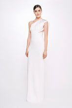 Load image into Gallery viewer, Stretch Crepe Gown with Embroidered Shoulder