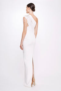 Stretch Crepe Gown with Embroidered Shoulder