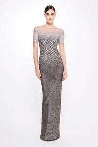 Sequin Cross Hatch Gown
