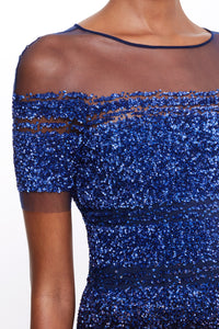 Ombre Sequin Embroidered Cocktail