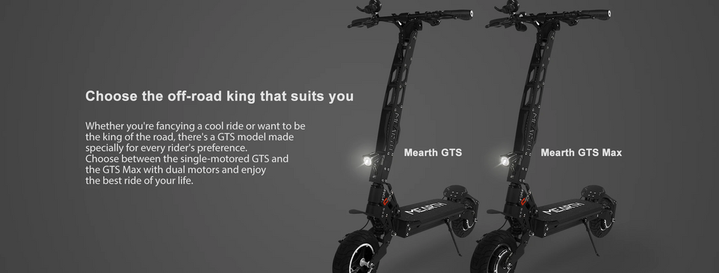 Mearth GTS Series Off-road Electric Scooter choose between single or dual motors