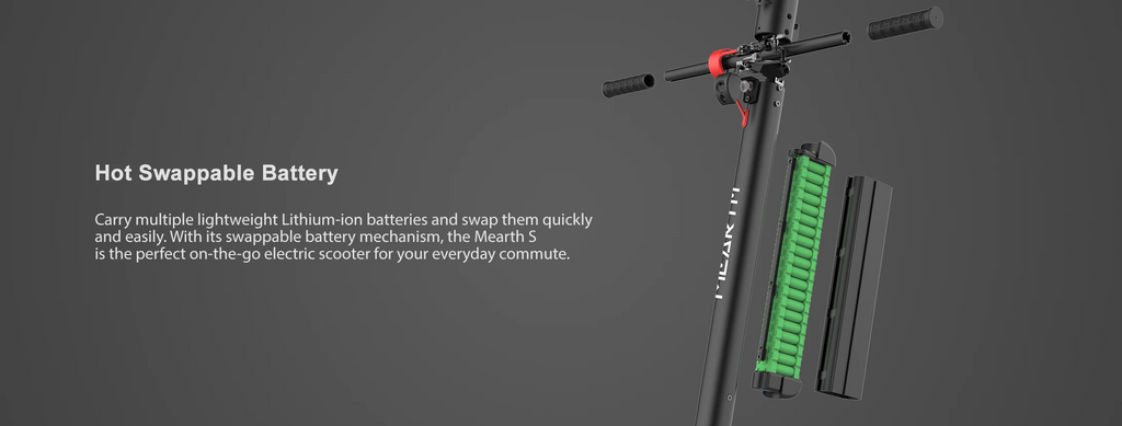 Mearth S and S Pro Electric Scooter Swappable battery to extend range