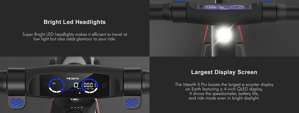 Mearth X Pro Electric Scooter Large LCD and bright headlights
