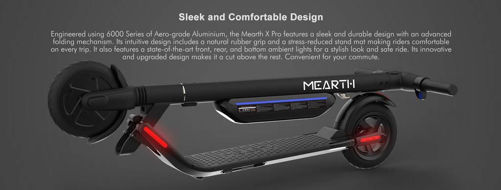 Mearth X Pro Electric Scooter Aero-grade aluminum frame with easy fold mechanism