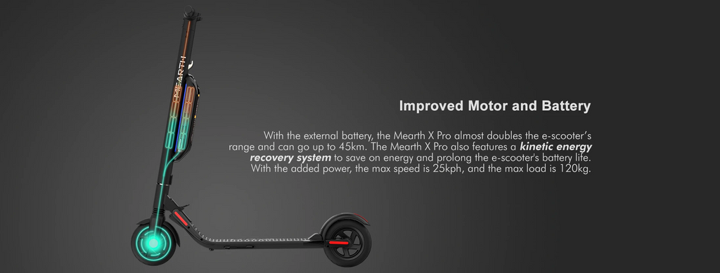 Mearth X Pro Electric Scooter Improved motor and battery with kinetic energy recovery system
